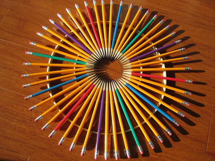 Large Colorful Pencil Wreath. via Etsy. - sort of a cool project for a teacher...or just buy it!
