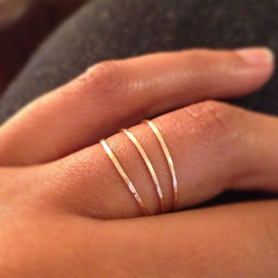 Gold 3 Ring Stack Set,14k Gold Filled Stacking Rings, Micro Skinny Gold Stacking Rings, Hammered Gold Ring, Minimalist Jewelry