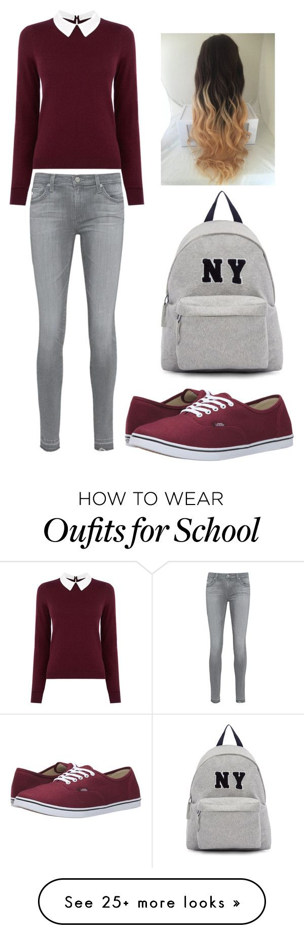 """Go to school..."" by kikabijelic on Polyvore featuring Oasis, AG Adriano Goldschmied, Vans and Joshua's"