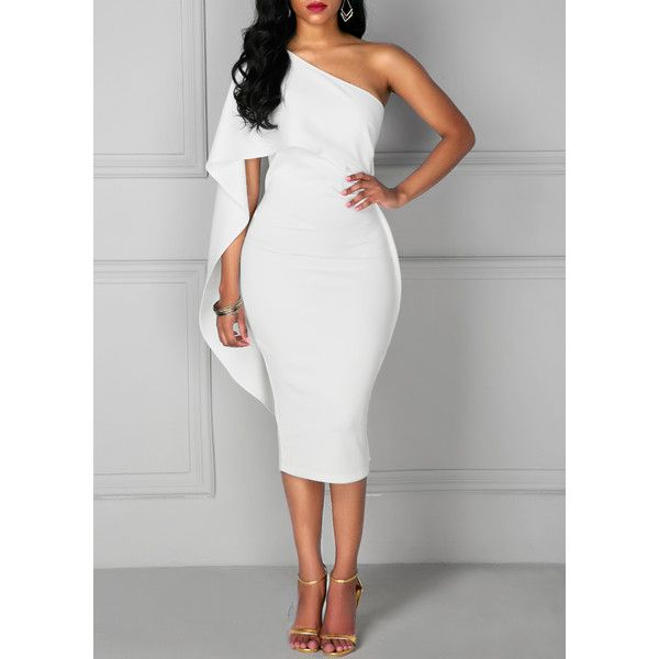 Rotita One Shoulder Overlay Knee Length White Dress (110 BRL) ❤ liked on Polyvore featuring dresses, white, short sleeve dress, white one sleeve dress, one shoulder white cocktail dress, one-sleeve dress and one shoulder dresses