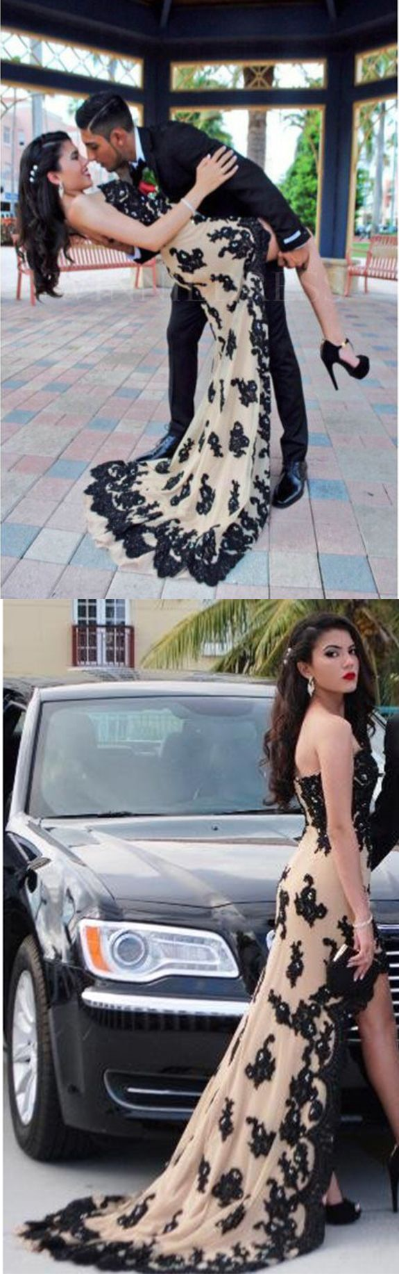 Hi-lo Prom Dresses,Black Lace Prom Dress,Applique Prom Dresses,Nude Prom Gown,Sexy Evening Gowns,High Low Prom Dress,Black Prom Dress,Graduation Dress,Prom Dress for Teens #black #lace #stapless #highlow #sexy #prom #formal #okdresses