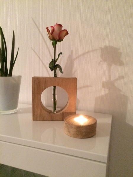 Eiche, Vase, Teelicht, Valentinstag, Holzvase,Deko von Massive -Holzdeko auf DaWanda.com