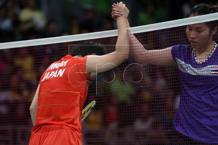 Olympic Games 2016 Badminton -Ratchanok Intanon of Thailand (R) congratulates Akane Yamaguchi of Japan (R)