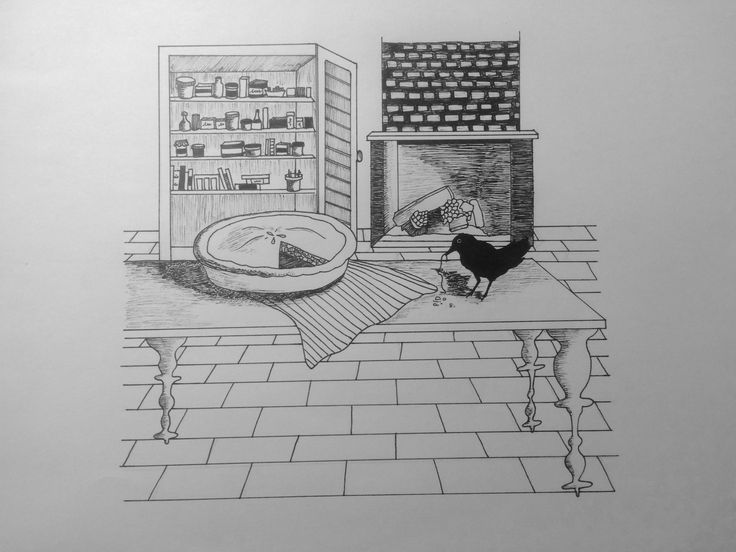 Illustrated line drawing. The idea originated from the nursery rhyme 'Sing A Song Of Sixpence'. That's where the pie and the blackbird come in...
