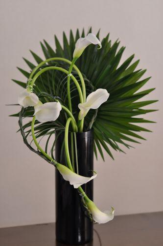 greenery and calla lilies