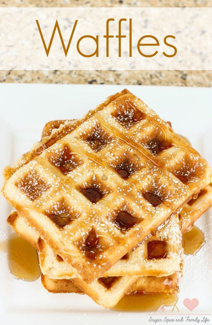 Homemade Waffles are a delicious breakfast meal that can be topped with syrup, fruit or your favorite waffle topping. - Waffles Recipe on Sugar, Spice and Family Life