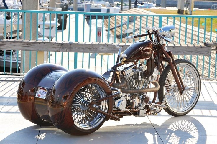Lowrider style custom trike with full rear fenders and springer front end