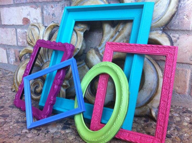 Frame Collage Funky Bright Home Decor Upcycled Vintage Frames Hollywood Regency Apartment Decor Quirky Decor. $37.00, via Etsy.