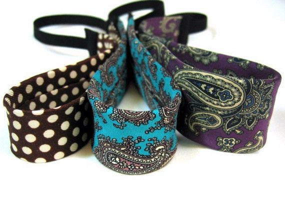 Upcycled and Recycled Men's Neckties into headbands. This is seriously cute.