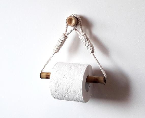 Toilet Paper Holder Bamboo Roll Holder Cotton Rope Decor Etsy In 2020 Diy Toilet Paper Holder Rope Decor Toilet Paper Holder