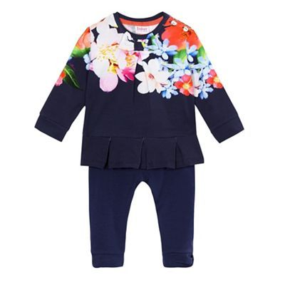 Baker by Ted Baker Baby girls' navy peplum top and leggings set | Debenhams