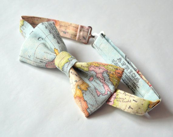 World map bow tie men's bow tie women's bow by MissEngagedBoutique