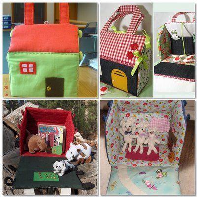 fabric doll houses and barn ideas; tutorial is actually http://uklassinus.blogspot.com/2008/08/fabric-dollhouse-tutorial.html