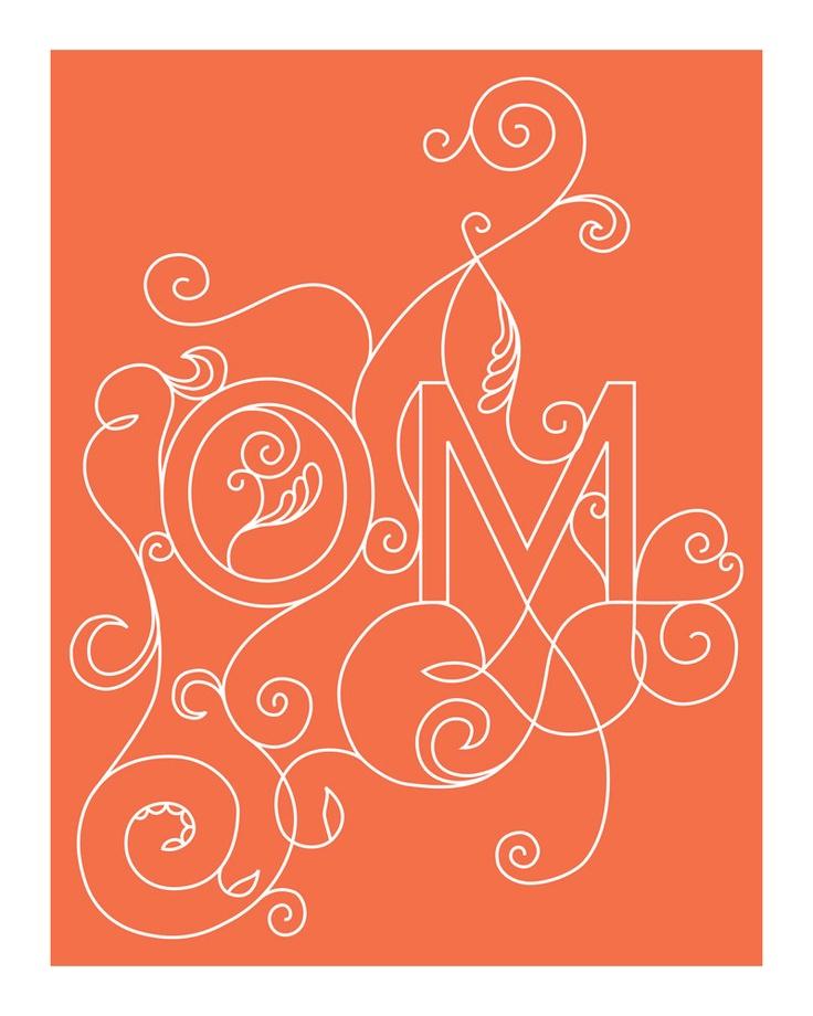 OM Yoga Print - 8 x 10 in Coral
