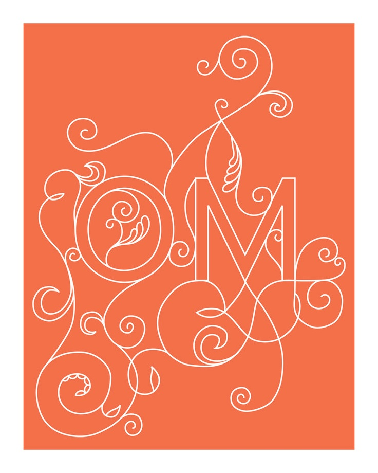 OM Yoga Art Print - 8 x 10 in Coral