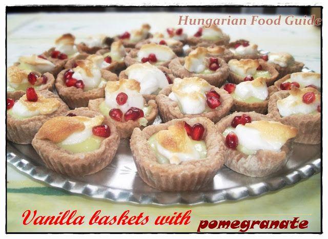 Vanilla baskets with pomegranate
