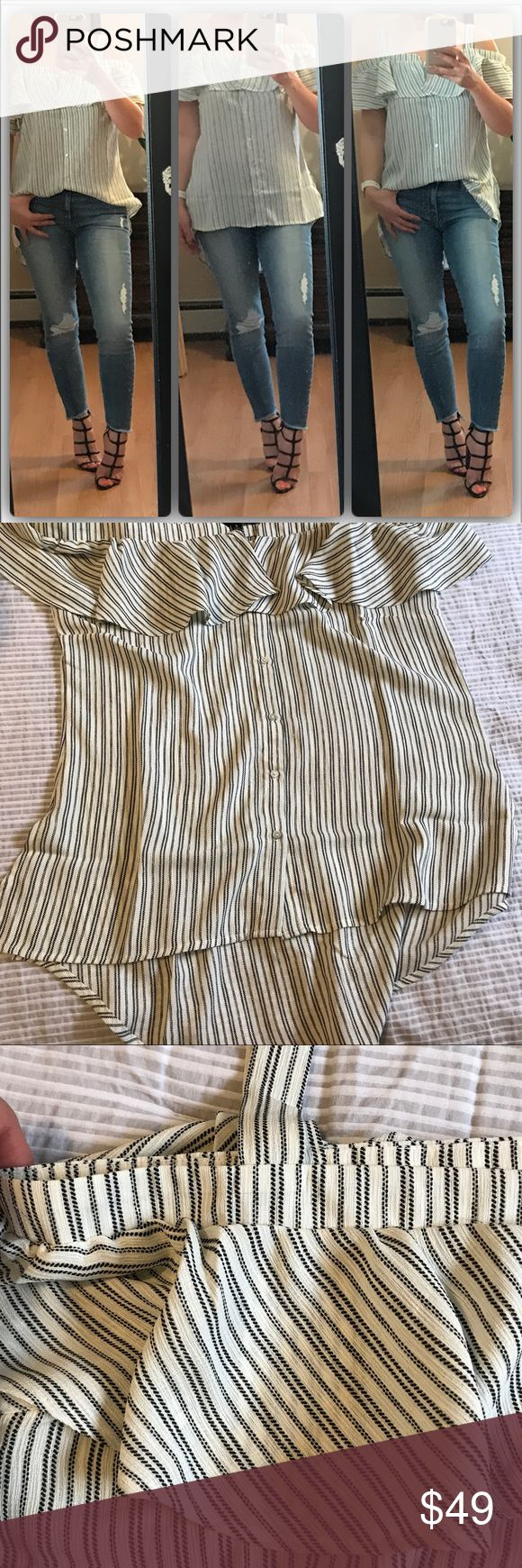 🆕🌸Cold shoulder button down Absolutely one of my fave tops today. Button down cold shoulder shirt. So pretty & feminine . Can be dressy or casual over jeans. Functional buttons. Great material and fit. Modeling small. Excellent brand Tops