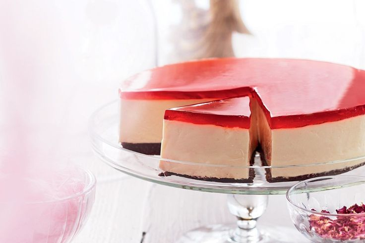 Chocolate biscuit base, creamy cheesecake and strawberry rosewater jelly layer up to create this indulgent cheesecake.
