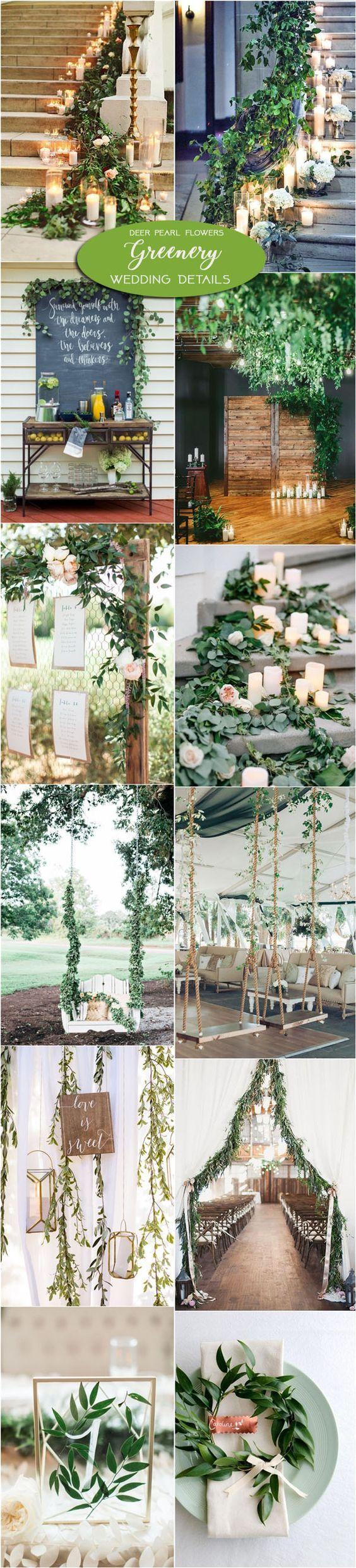 Greenery wedding color ideas & wedding decors / http://www.deerpearlflowers.com/greenery-wedding-decor-ideas/3/