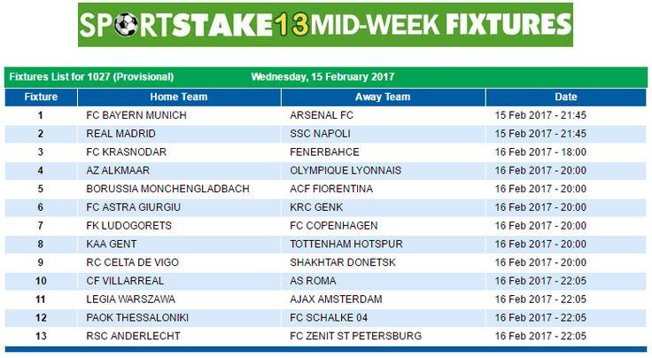 #SportStake13 Midweek Fixtures - 15 February 2017