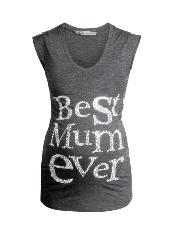 Best Mum Ever Tričko šedé - Queen Mum | BabyBelly.sk | Tehotenská a materská móda