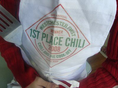 Guess who won Best Chili at the church cookoff on Saturday? Maude and Ralph Blair. That's who. (Yay Ralph and Maude!!) And the photo you see is Maude sporting the trophy apron. Here's the chili story. 8 years ago. When the Blair family only had...