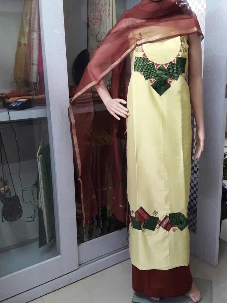 Cotton silk salwar kurta material kurta 2.5 metres salwar 2.25 metres with Chanderi dupatta. Kurta embellished with patchwork material from khann.