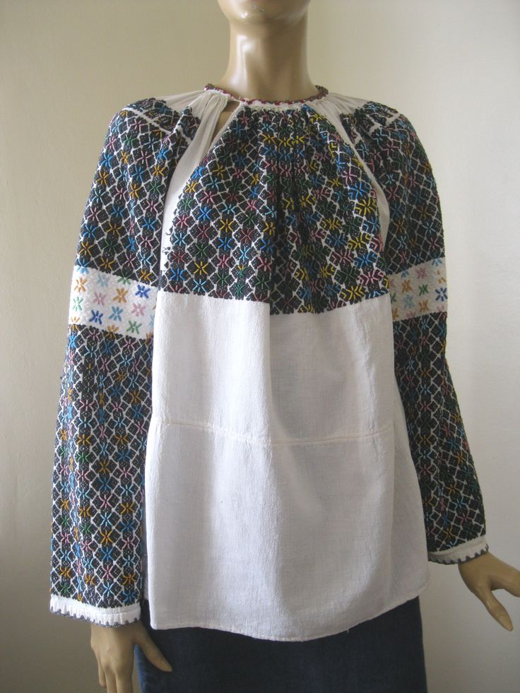 Antique Romanian blouse: black embroidery and beads - size M at www.greatblouses.com