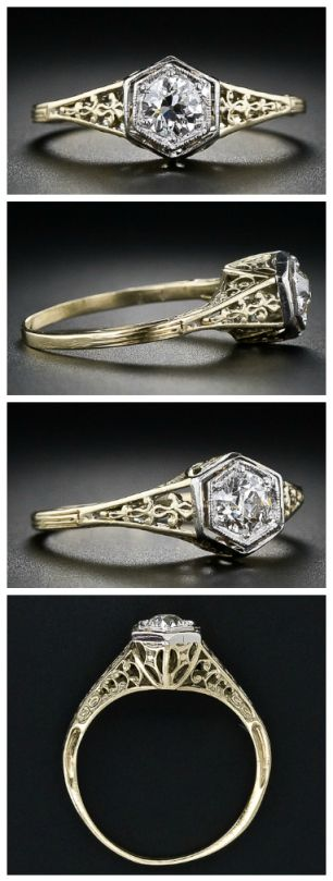 Vintage diamond filigree engagement ring. Via Diamonds in the Library.