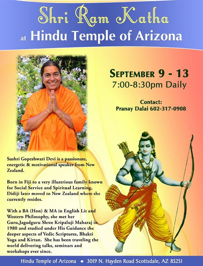 SHRI RAM KATHA!! Event Location :- Hindu Temple of #Arizona 3019 N Hayden Rd, Scottsdale, #AZ 85251