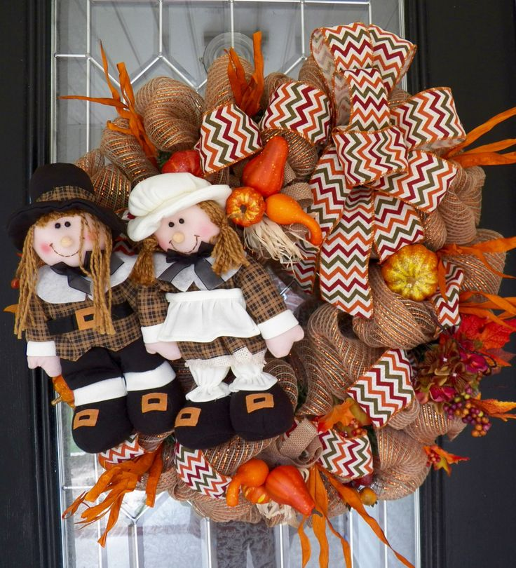 Burlap Fall Wreath, Thanksgiving Wreath, Door Hanger, Decoration, Wreath for Door, Front door Wreaths, Ready to Ship by OccasionsBoutique on Etsy