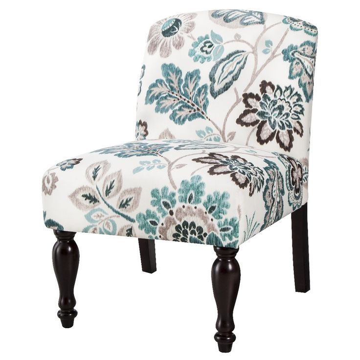 Foster Armless Slipper Chair   Teal/White Floral