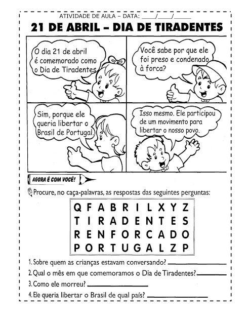 Nosso Espaço Educando: Dia de Tiradentes (Inconfidência Mineira) - Atividades, desenhos e exercícios.