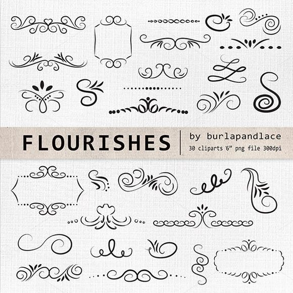 Check out Hand Drawn flourishes clipart by burlapandlace on Creative Market