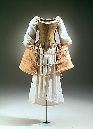 Corset, Hoop-Skirt (with pockets) and Chemise: ca. 1760's, Danish, fish bones, canvas, cotton, ribbon.