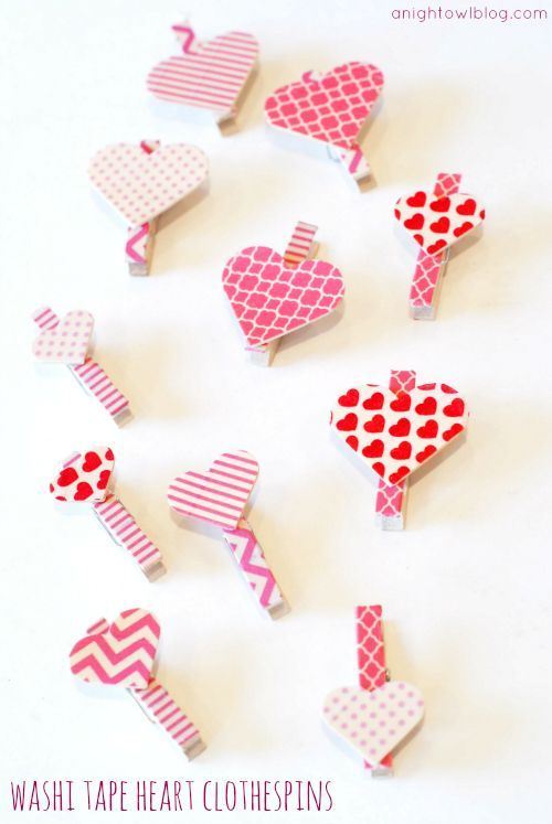 Washi Tape Heart Clothespins: You can find the wood hearts and clothespins to make these at craftparts.com