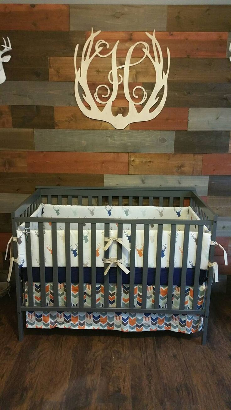 Deer Head and Arrow Crib bedding in Navy and Orange -many ordering options described below by LavenderLinens on Etsy https://www.etsy.com/listing/210543879/deer-head-and-arrow-crib-bedding-in-navy