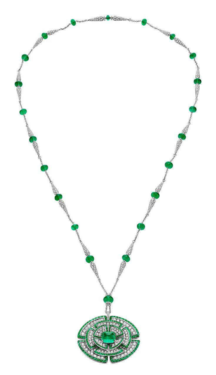 Bulgari gioielli - Collana Bulgari Giardini Italiani HJ in oro bianco con smeraldi e diamanti