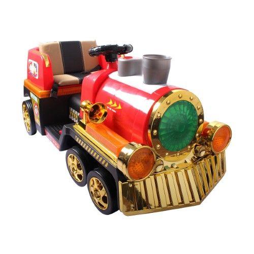 Costway 2.4G Kids Ride On Train Electric Remote Control Train w/Lights & MP3 & Stream