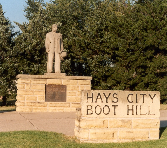 """Boot Hill - The Boot Hill Cemetery in Hays, the oldest west of the Mississippi, was so named because many of the inhabitants """"died with their boots on""""."""
