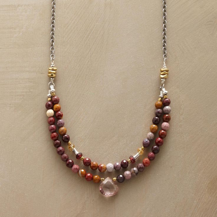 "ROUND TRIP NECKLACE -- A compliment to our best-selling Round Trip bracelet, this necklace combines citrine, brass, jasper, pink topaz and sterling silver. Sterling silver clasp. USA. Exclusive. 17-1/2""L."