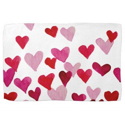 Valentines Day Watercolor Hearts  pink Towel - valentines day gifts love couple diy personalize for her for him girlfriend boyfriend