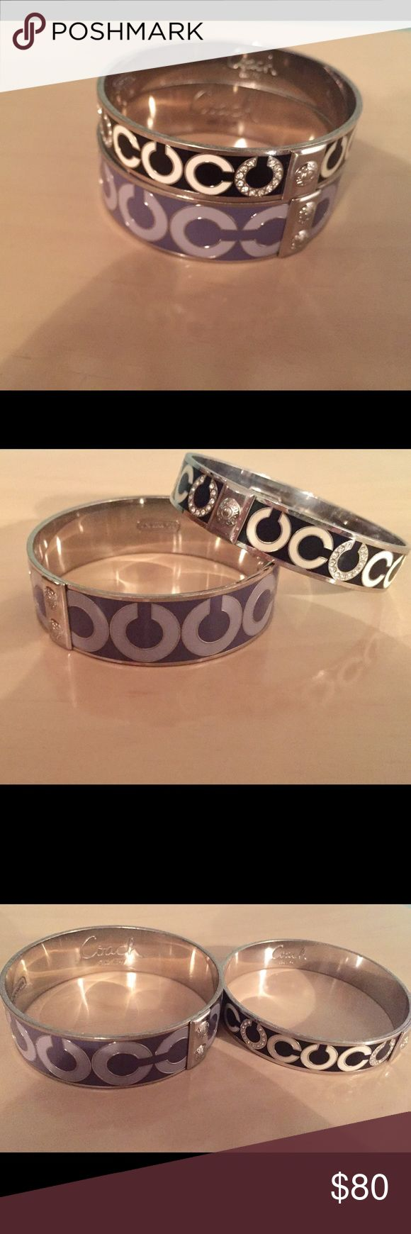 "Coach Bracelets Authentic Coach Bangle Bracelets. Purple and silver. Black and silver. Nice and stylish! Small stones on some of the ""C""s. Selling as a set. Thank you! Coach Jewelry Bracelets"
