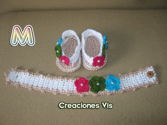 Hermosas Sandalias Para Bebé Niña Tejidas A Mano Crochet Mmu - $ 65.00 en MercadoLibre