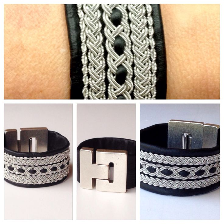 Unisex Sami pewter/silver thread on reindeer leather bracelet, with a 3cm wide magnetic zamak clasp.