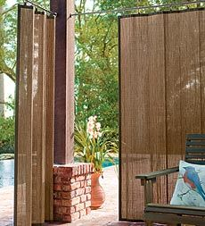 Create shade and privacy outdoors with Outdoor Bamboo Curtain Panels. The patented design with ring tabs open and close effortlessly and the panels fit in a small neat stack when opened and lay flat when closed to cover the entire expanse of the window. Genuine 100% oil rubbed water repellant bamboo curtain panels.