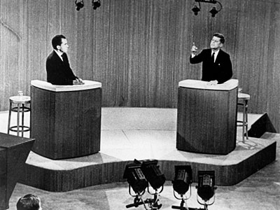 first televised presidential debate. Kennedy, right, and the opposing party, left.