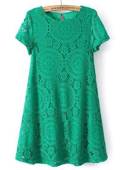 Vestido suelto encaje hueco manga corta-verde