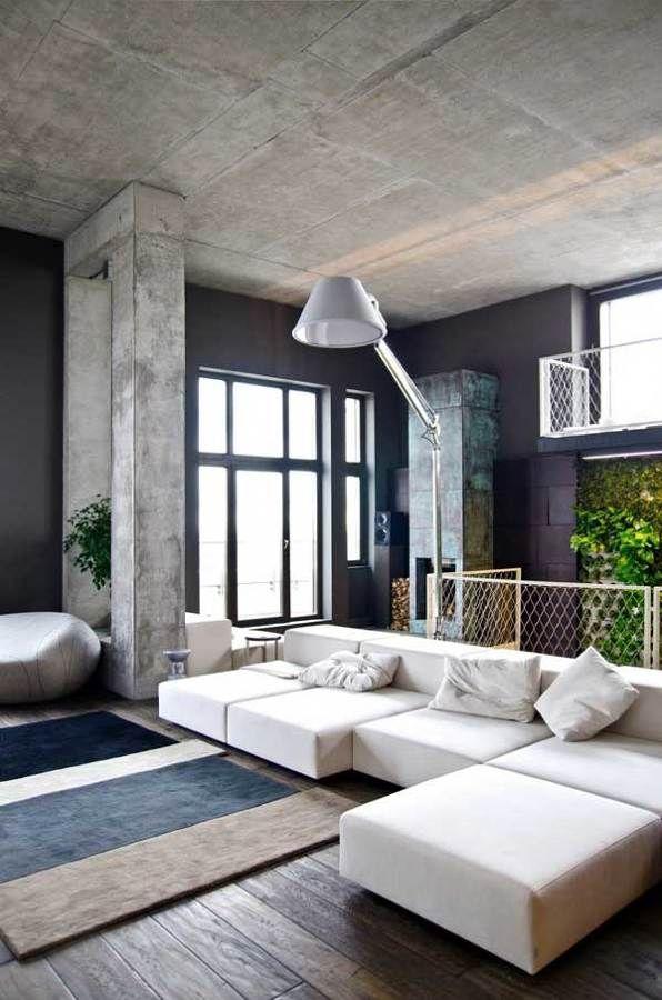 pared negra loft / ¡Blanco vs Negro! ¿Qué funciona mejor en la decoración de tu casa? #hogarhabitissimo #salón