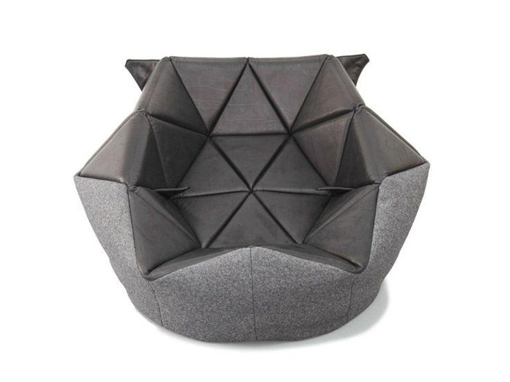 Upholstered leather bean bag MARIE by FREIFRAU | design Antoinette Bader